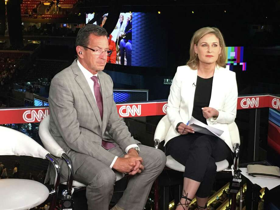 Gov. Dannel P. Malloy sits down for an interview with Hala Gorani of CNN at the Wells Fargo Center in Philadelphia, PA on Tuesday, July 26, 2016. Photo: Neil Vigdor, Hearst Connecticut Media / Connecticut Post