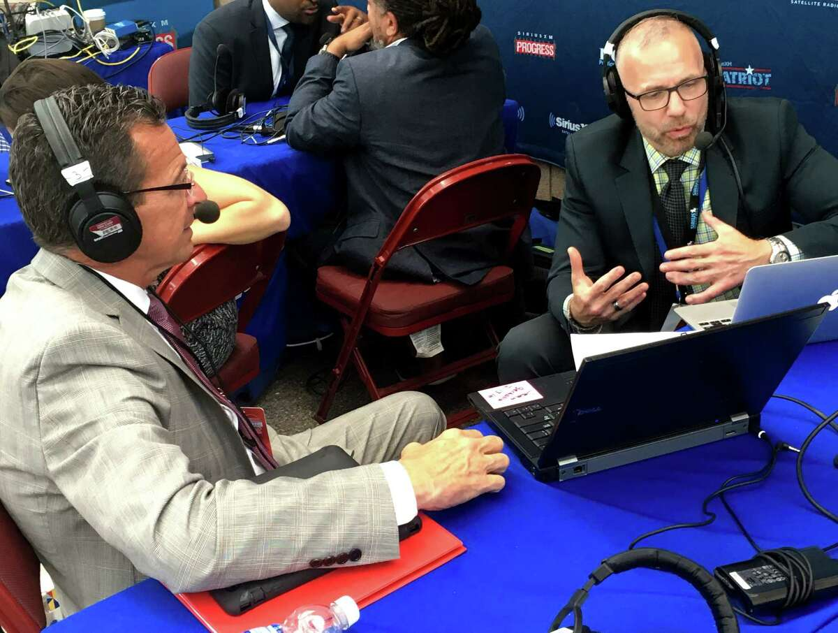 Gov. Dannel P. Malloy does an interview with gay rights activist and liberal commentator Michelangelo Signorile of Sirius XM Radio at the Wells Fargo Center in Philadelphia, PA on Tuesday, July 26, 2016.