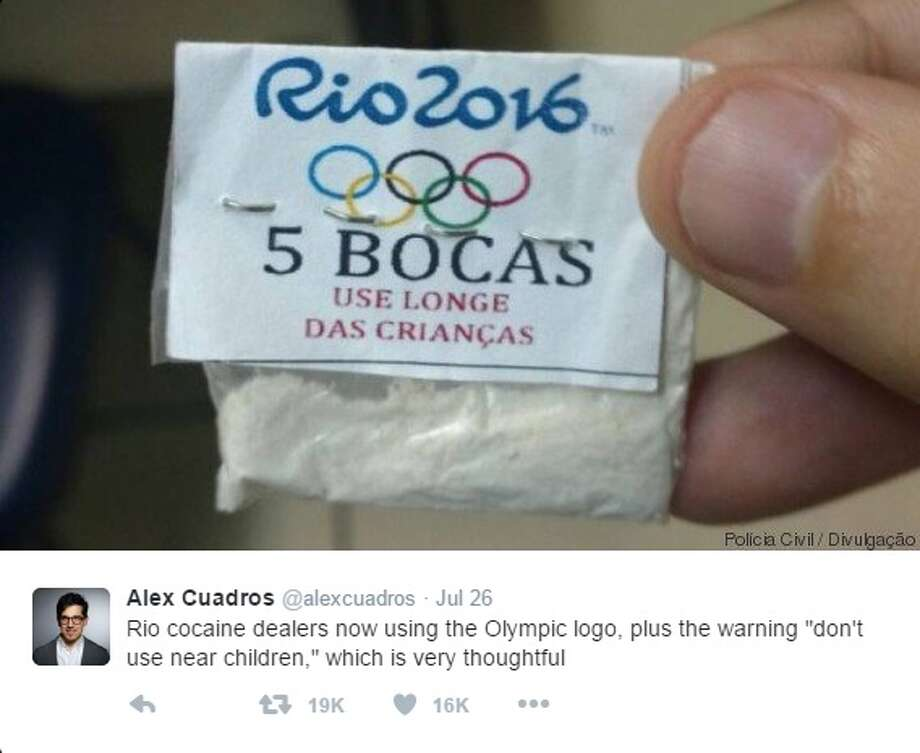 """@alexcuadros: """"Rio cocaine dealers now using the Olympic logo, plus the warning 'don't use near children,' which is very thoughtful"""" Photo: Courtesy/Twitter"""