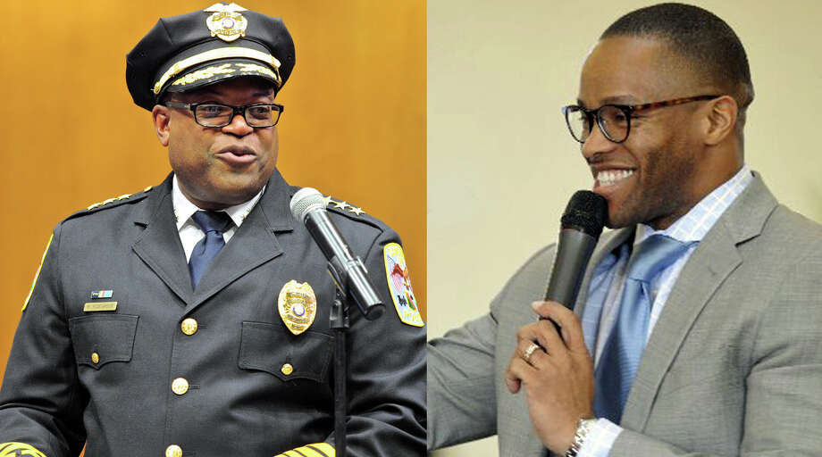 Danbury Police Chief Patrick Ridenhour during his swearing-in on July 11 at City Hall, and the Rev. Leroy Parker, pastor of New Hope Baptist Church in Danbury, during a celebration of Dr. Martin Luther King Jr. Day in January. Photo: H John Voorhees III, Carol Kaliff