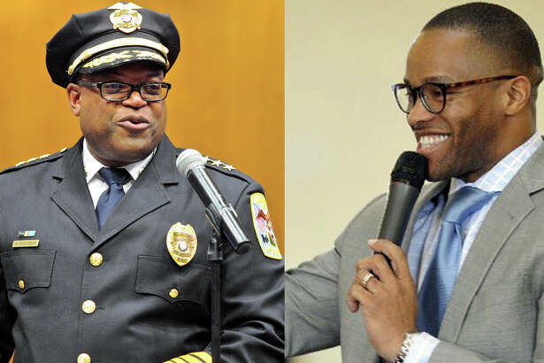 Danbury Police Chief Patrick Ridenhour during his swearing-in on July 11 at City Hall, and the Rev. Leroy Parker, pastor of New Hope Baptist Church in Danbury, during a celebration of Dr. Martin Luther King Jr. Day in January.