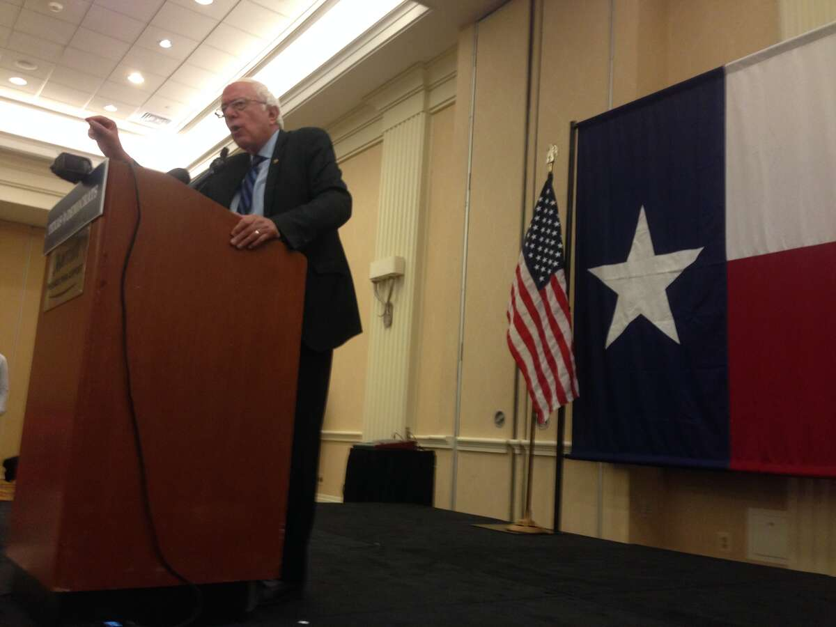 Former presidential candidate Bernie Sanders addresses the Texas delegation on Wednesday.