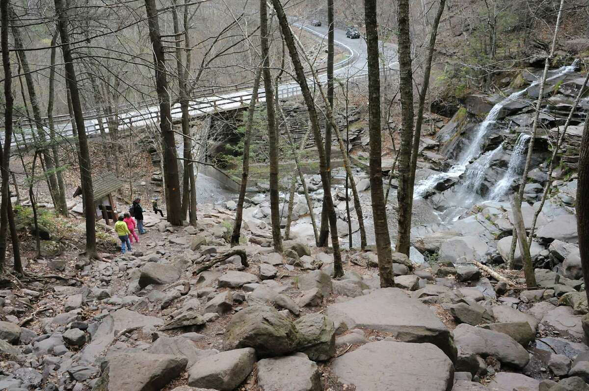People hike the Kaaterskill Falls on Thursday, April 28, 2016 in Haines Falls, N.Y. (Lori Van Buren / Times Union)
