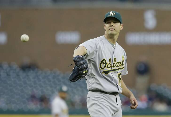 Oakland Athletics starting pitcher Rich Hill waits on a new ball during the first inning of a baseball game against the Detroit Tigers, Tuesday, April 26, 2016, in Detroit. (AP Photo/Carlos Osorio)