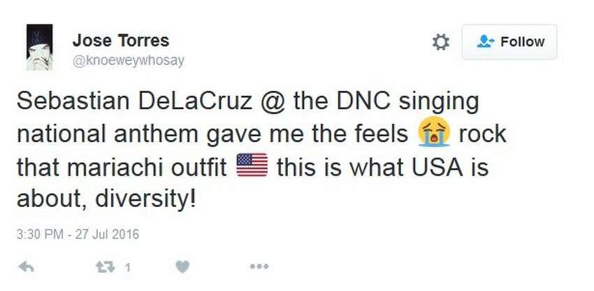 Jose Torres @knoeweywhosay Sebastian DeLaCruz @ the DNC singing national anthem gave me the feels
