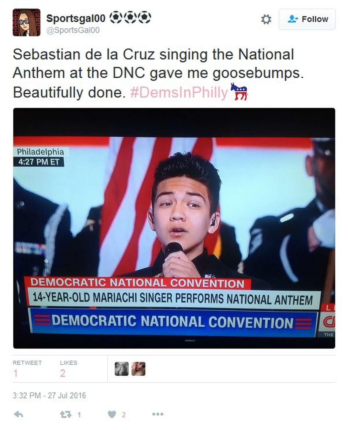 Sportsgal00 ⚽️ ⚽️ ⚽️ ‏@SportsGal00 Sebastian de la Cruz singing the National Anthem at the DNC gave me goosebumps. Beautifully done. #DemsInPhilly