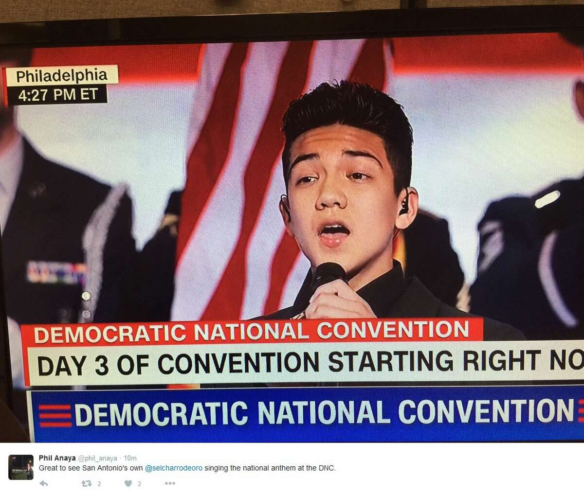 @phil_anaya 1h1 hour ago Great to see San Antonio's own @selcharrodeoro singing the national anthem at the DNC.