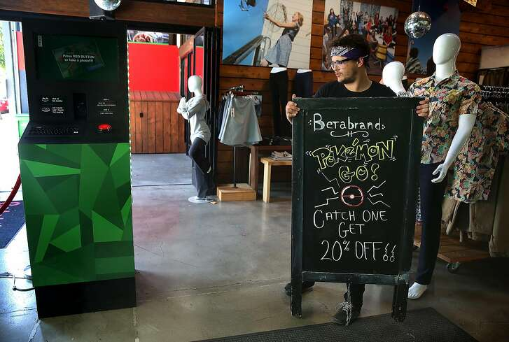 Betabrand currently has a Pokemon Go promotion where if you catch a Pokemon or use the stop while in the store, you will get 20 percent off your purchase on Wednesday, July 27, 2016, in San Francisco, Calif.
