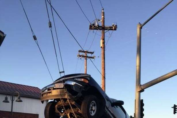 A pickup truck that scaled a utility pole's support wire at West Imola Avenue and South Coombs Street knocked out power in the area Tuesday, police said.