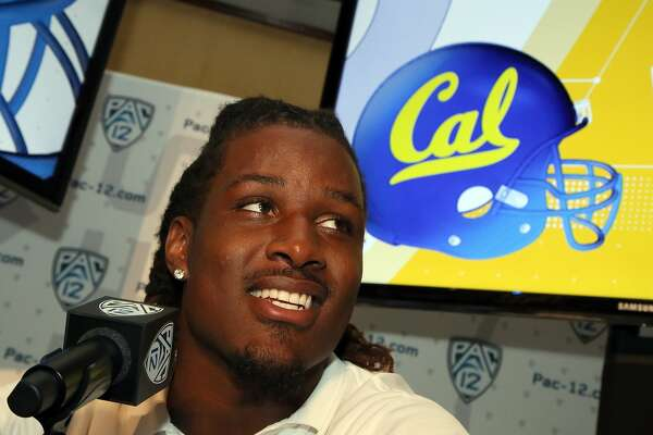 California defensive end DeVante Wilson speaks at the Pac-12 NCAA college football media day in Los Angeles Thursday, July 14, 2016. (AP Photo/Reed Saxon)