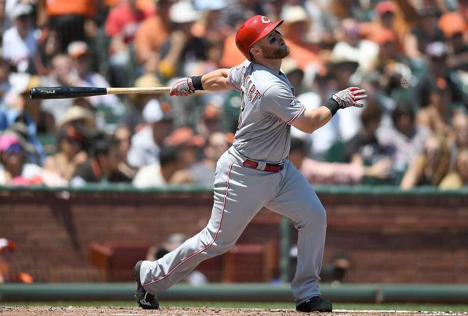"""Home runs are sexy. Strikeouts are sexy,"" said Tucker Barnhart of the Cincinnati Reds. Photo: Thearon W. Henderson, Getty Images"