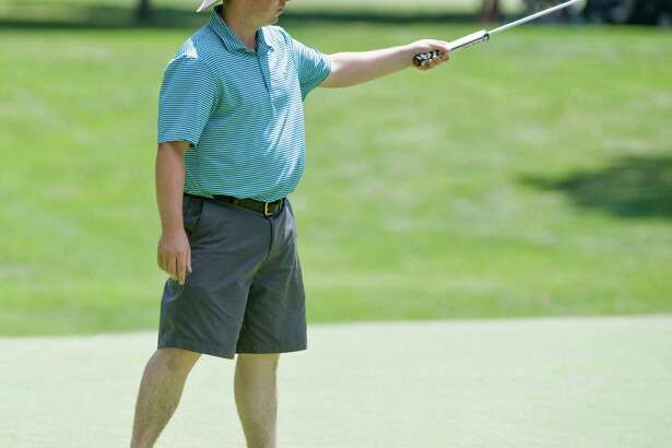William Street of Whitney Farms GC thinks his putt is going to drop during the final round of the Connecticut Open golf tournament at Woodway CC in Darien. Wednesday, July 27, 2016