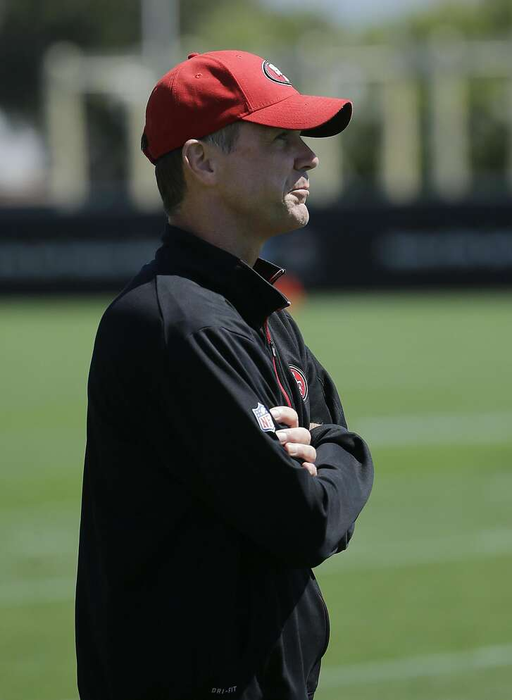 San Francisco 49ers general manager Trent Baalke watches during a team practice at an NFL football facility in Santa Clara, Calif., Tuesday, May 17, 2016. (AP Photo/Jeff Chiu)