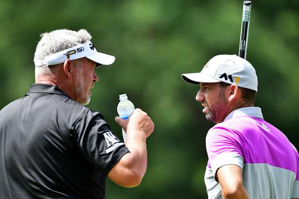 SPRINGFIELD, NJ - JULY 27:  (L-R) Darren Clarke of Northern Ireland and Sergio Garcia of Spain talk during a practice round prior to the 2016 PGA Championship at Baltusrol Golf Club on July 27, 2016 in Springfield, New Jersey.  (Photo by Stuart Franklin/Getty Images)