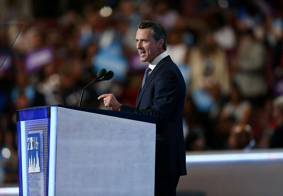 Gavin Newsom, lieutenant governor of California, speaks during the Democratic National Convention (DNC) in Philadelphia on July 27. Photo: Daniel Acker, Bloomberg