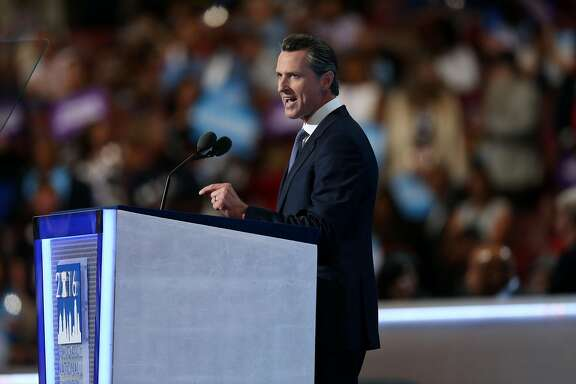 Gavin Newsom, lieutenant governor of California, speaks during the Democratic National Convention (DNC) in Philadelphia, Pennsylvania, U.S., on Wednesday, July 27, 2016. With the historic nomination for the first woman to run as the presidential candidate of a major U.S. political party, Democrats gathered in Philadelphia hoped they had turned a corner on Tuesday. Photographer: Daniel Acker/Bloomberg