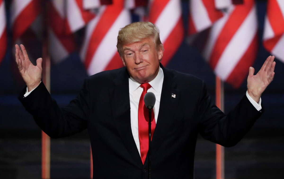 CLEVELAND, OH - JULY 21: Republican presidential candidate Donald Trump delivers a speech during the evening session on the fourth day of the Republican National Convention on July 21, 2016 at the Quicken Loans Arena in Cleveland, Ohio. Republican presidential candidate Donald Trump received the number of votes needed to secure the party's nomination. An estimated 50,000 people are expected in Cleveland, including hundreds of protesters and members of the media. The four-day Republican National Convention kicked off on July 18. (Photo by Alex Wong/Getty Images) ORG XMIT: 655470145
