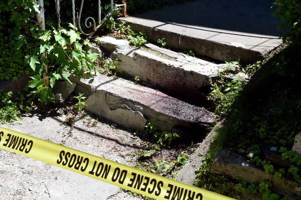 Blood from the scene of a shooting on the front steps of 1339 First Avenue on Tuesday, June 14, 2016, in Schenectady, N.Y. (Cindy Schultz / Times Union)