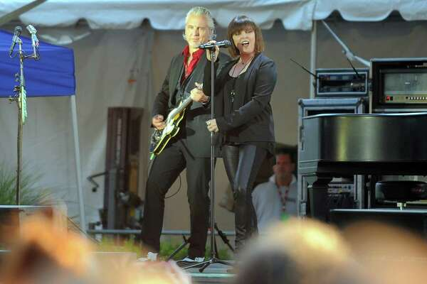 Pat Benatar & Neil Giraldo perform  during the Wednesday Nite Live concert series in Columbus Park in Stamford, Conn. on July 27, 2016.