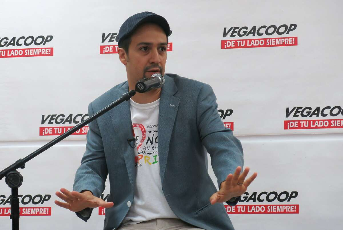 Lin-Manuel Miranda speaks with reporters in Vega Alta, Puerto Rico, Wednesday, July 27, 2016. Miranda joked that he is a hard-to-catch Pokemon as fans pursue him with cellphones during a visit to his parents' native Puerto Rico shortly after ending his run on his Broadway hit