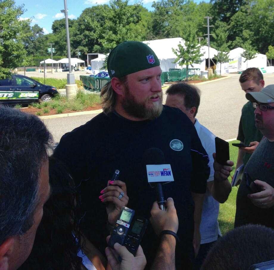 New York Jets center Nick Mangold  talks to the media Wednesday, July 27, 2016, at Atlantic Health Jets Training Center in Florham Park, New Jersey. (AP Photo/Dennis Waszak) ORG XMIT: RPDW202 Photo: Dennis Waszak / AP