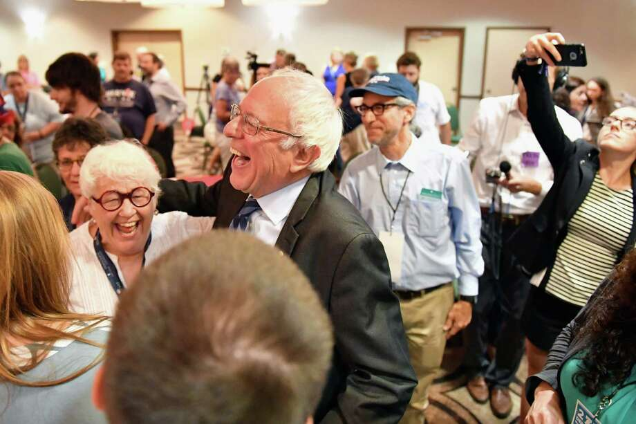 Senator Bernie Sanders singled out the young people who voted for him by wide margins at delegation breakfasts, including Texas, on Wednesday at the Democratic National Convention. Photo: Jeff J Mitchell, Staff / 2016 Getty Images