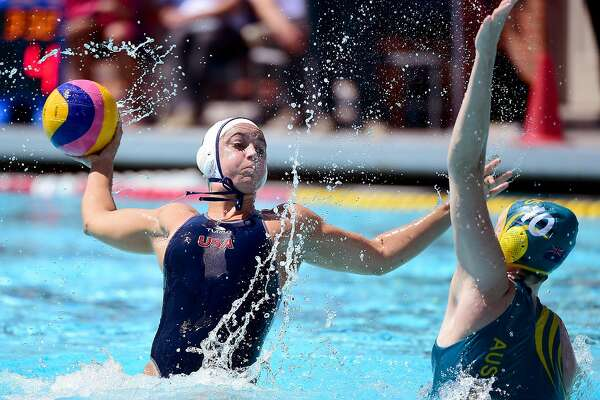 LOS ANGELES, CA - MAY 22:  Maggie Steffens #6 of the United States prepares her shot in front of Ash Southern #10 of Australia during the 2016 Olympic team trials at the Uytengsu Aquatics Center on May 22, 2016 in Los Angeles, California.  (Photo by Harry How/Getty Images)