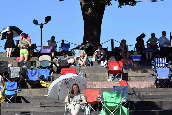 """People show up three hours early to get spots to watch the Park Playhouse production of """"Chicago"""" at Washington Park on Wednesday July 27, 2016 in Albany, N.Y. (Michael P. Farrell/Times Union)"""