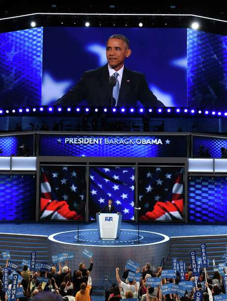 President Barack Obama addresses Day 3 of the Democratic National Convention at the Wells Fargo Center, July 27, 2016 in Philadelphia, Pennsylvania.      / AFP PHOTO / SAUL LOEBSAUL LOEB/AFP/Getty Images Photo: SAUL LOEB, AFP/Getty Images / AFP or licensors