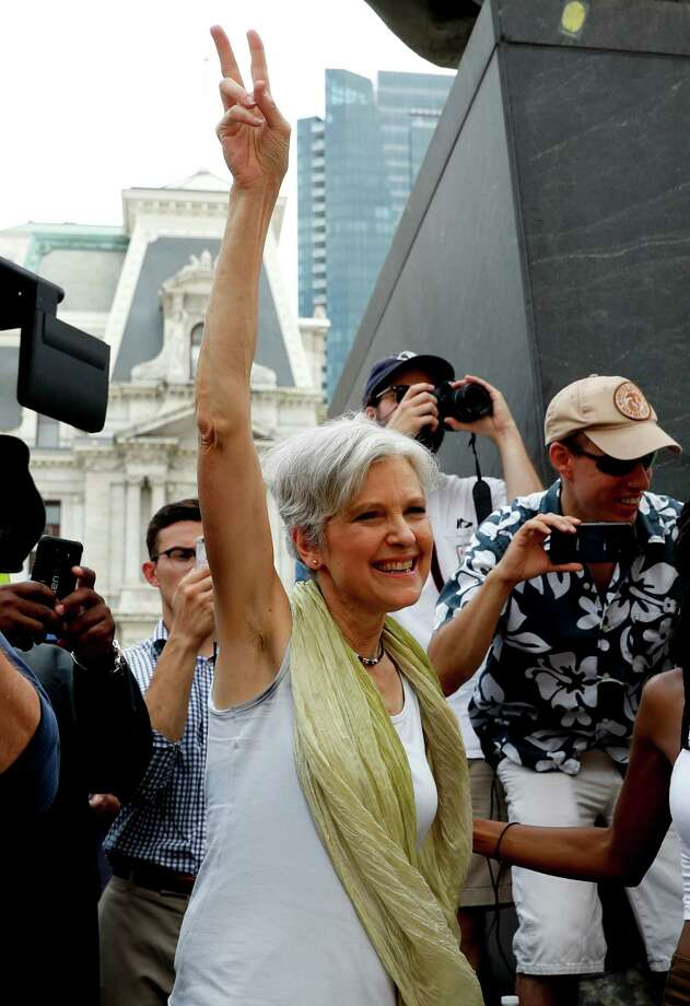 Dr. Jill Stein, presumptive Green Party presidential nominee, arrives at a rally in Philadelphia, Tuesday, July 26, 2016, during the second day of the Democratic National Convention. (AP Photo/John Minchillo) ORG XMIT: DNC722 Photo: John Minchillo / Copyright 2016 The Associated Press. All rights reserved. This m