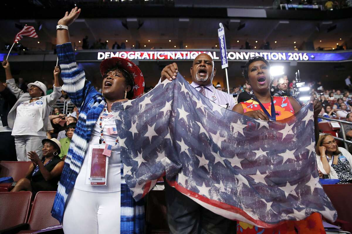Alabama delegates cheer during the third day session of the Democratic National Convention in Philadelphia, Wednesday, July 27, 2016. (AP Photo/Matt Rourke)