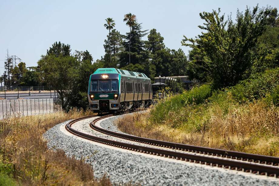 """A SMART train, with a """"late spring"""" start, takes a test ride in Novato in 2016. Photo: Gabrielle Lurie, Special To The Chronicle"""