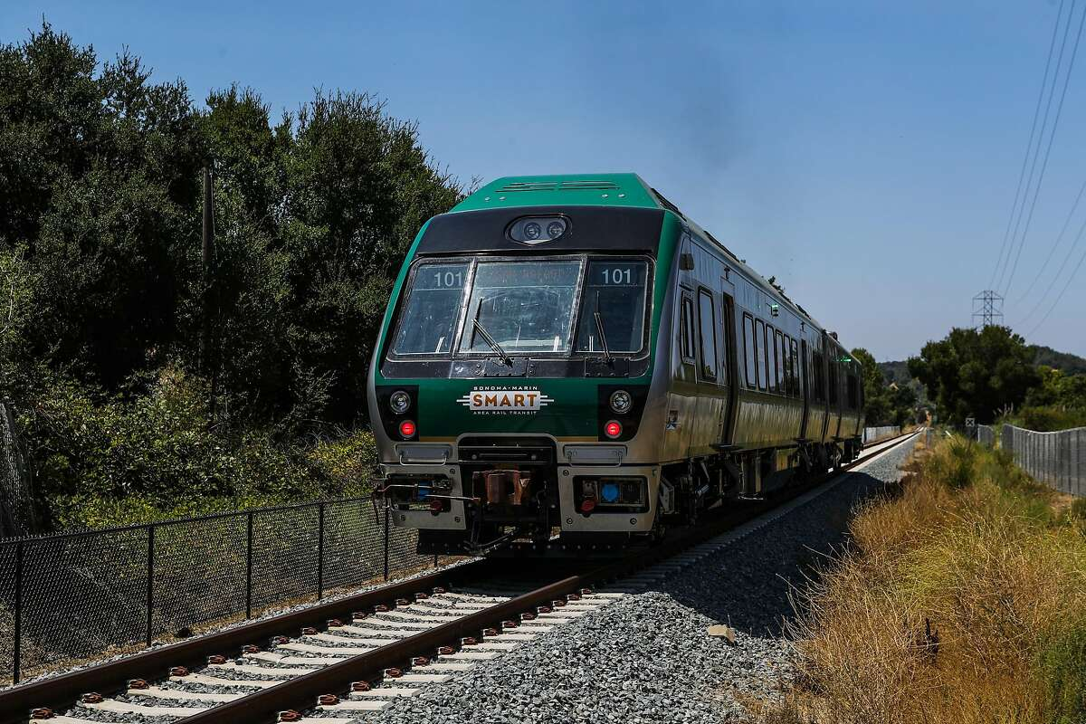 A Sonoma - Marin Smart train goes for a test ride in Novato, California, on Wednesday, July 27, 2016.