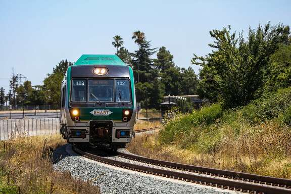 A Sonoma-Marin Smart train goes for a test ride in Novato, California, on Wednesday, July 27, 2016.