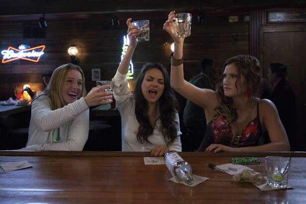 "Kristen Bell (from left),  Mila Kunis and Kathryn Hahn portray mothers behaving badly  in ""Bad Moms."""