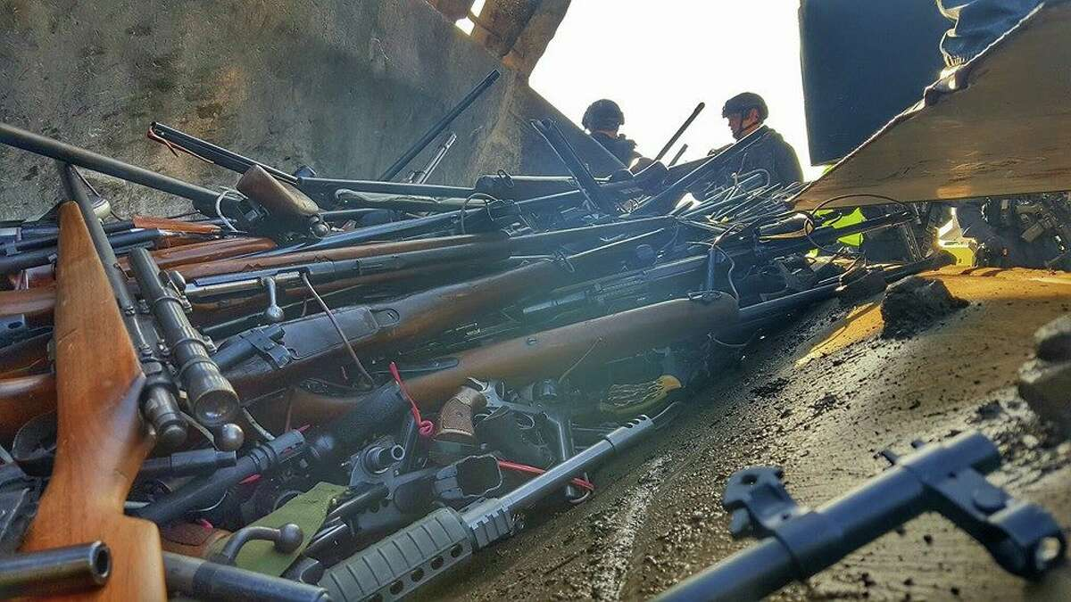 The Los Angeles County Sheriff's Department melted down 7,044 guns that have been confiscated. The metal will be used for construction and infrastructure.
