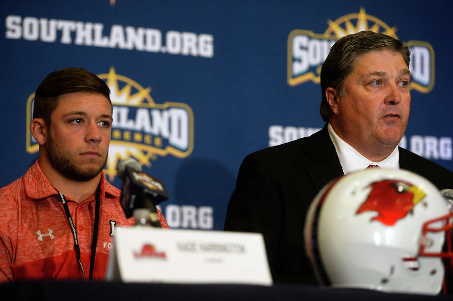 Lamar University running back Kade Harrington and Coach Ray Woodard take questions during the Southland Conference media day in Lake Charles on Wednesday.  Photo taken Wednesday 7/27/16 Ryan Pelham/The Enterprise Photo: Ryan Pelham / ©2016 The Beaumont Enterprise/Ryan Pelham