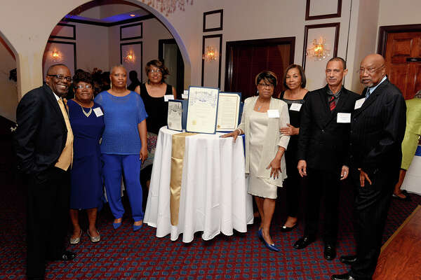 Carverdale alumni from all graduating classes reunited after more than 40 years on June 17 at Sterling Banquet Hall. Reunion committee members include Robert Bradshaw, left, Bessie Steward, Deborah Jenkins, Sherron Roberts, Relinda Grant, Eleanor Goines, Winston Stein and Jesse Mitchell III.