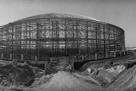 Astrodome construction, circa 1964.