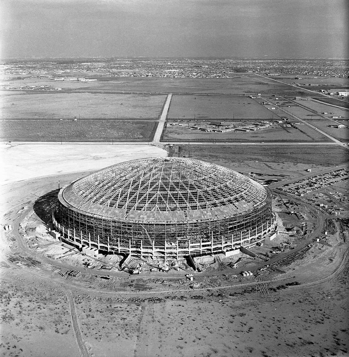 Aerial view of Astrodome construction, looking east.