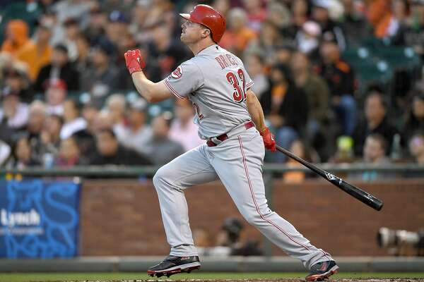 SAN FRANCISCO, CA - JULY 25:  Jay Bruce #32 of the Cincinnati Reds swings and watches the flight of his ball as he hits a two-run homer against the San Francisco Giants in the top of the fourth inning at AT&T Park on July 25, 2016 in San Francisco, California.  (Photo by Thearon W. Henderson/Getty Images)