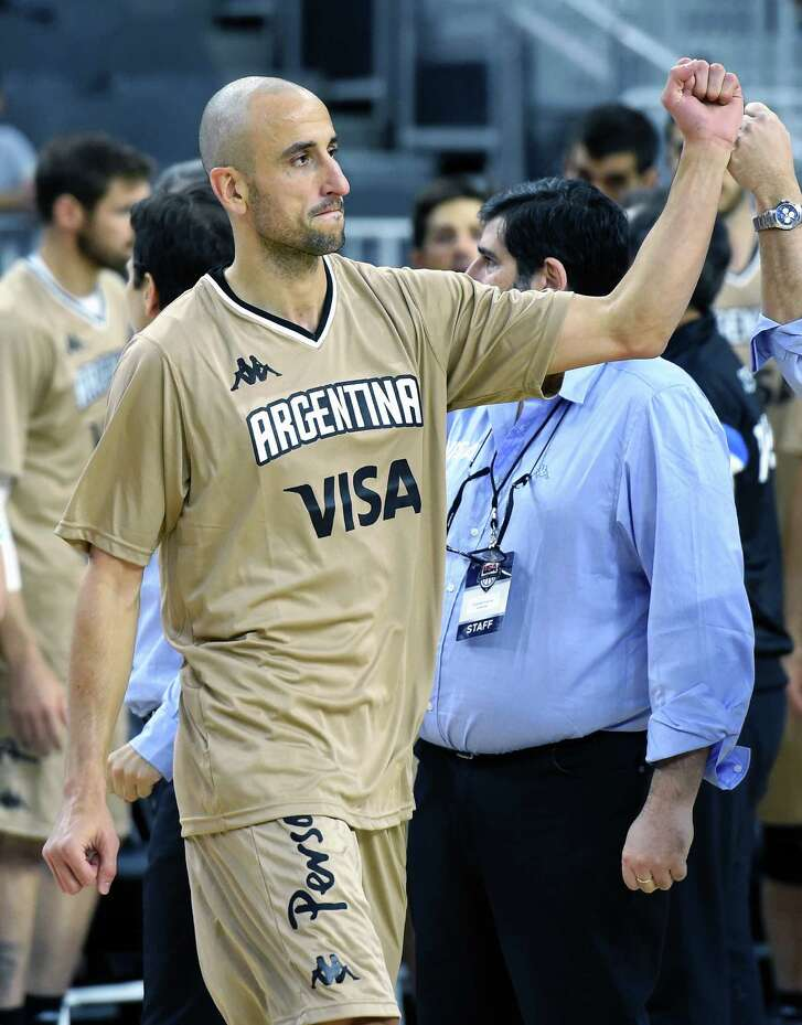 LAS VEGAS, NV - JULY 22:  Manu Ginobili #5 of Argentina is introduced before a USA Basketball showcase exhibition game against the United States at T-Mobile Arena on July 22, 2016 in Las Vegas, Nevada. The United States won 111-74.