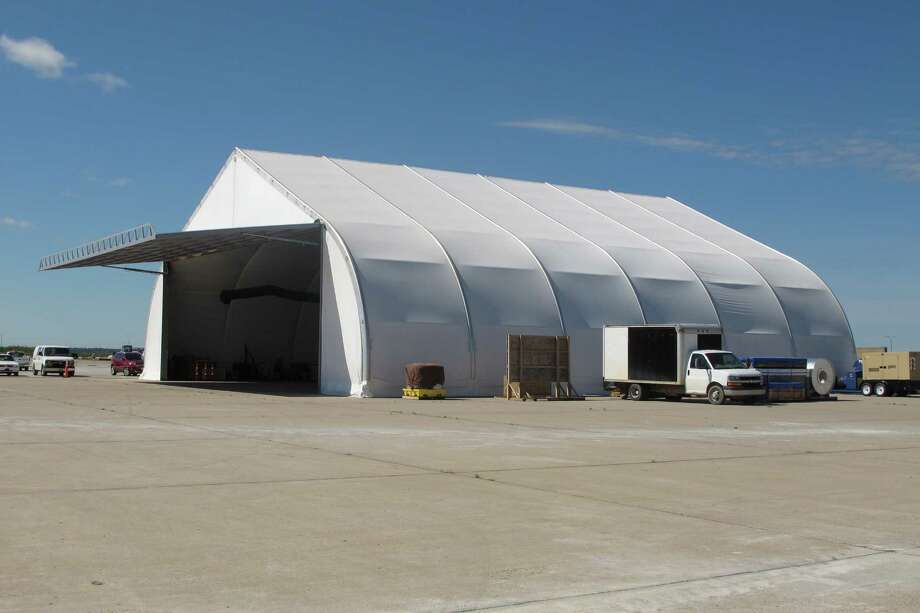 California-based General Atomics Aeronautical Systems Inc. has opened a flight training academy in the Grand Sky drone park on Grand Forks AFB. The facility is the nation's first unmanned aircraft business and technology park. Shown is a temporary hanger built by General Atomics. Photo: Dave Kolpack /Associated Press / Copyright 2016 The Associated Press. All rights reserved. This material may not be published, broadcast, rewritten or redistribu