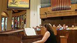 "Coker United Methodist Church organist and Interim Music Director Valerie Thompson plays a piano solo of ""I, Don Quijote"" at the first of four Bible and Broadway worship services last Sunday, July 24, 2016. The series started with ""Man of La Mancha"" and will run on consecutive Sundays with ""Cats"" followed by ""Oklahoma!"" and ""Seussical: The Musical."""