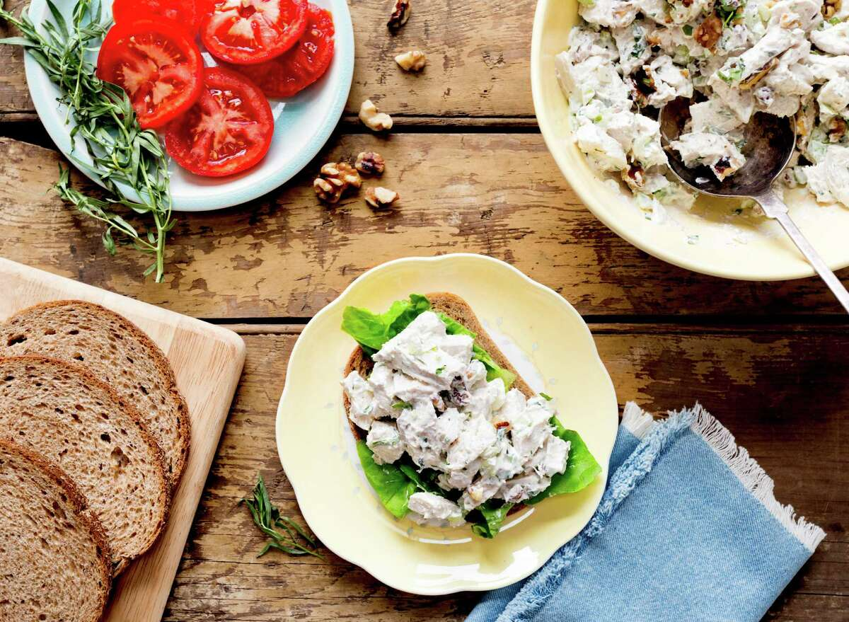 This version of chicken salad, the quintessential centerpiece of a Southern luncheon, borrows a technique from Chinese cooking - letting chicken breasts poach slowly inside a heavy, sealed pot as boiling water returns to room temperature.
