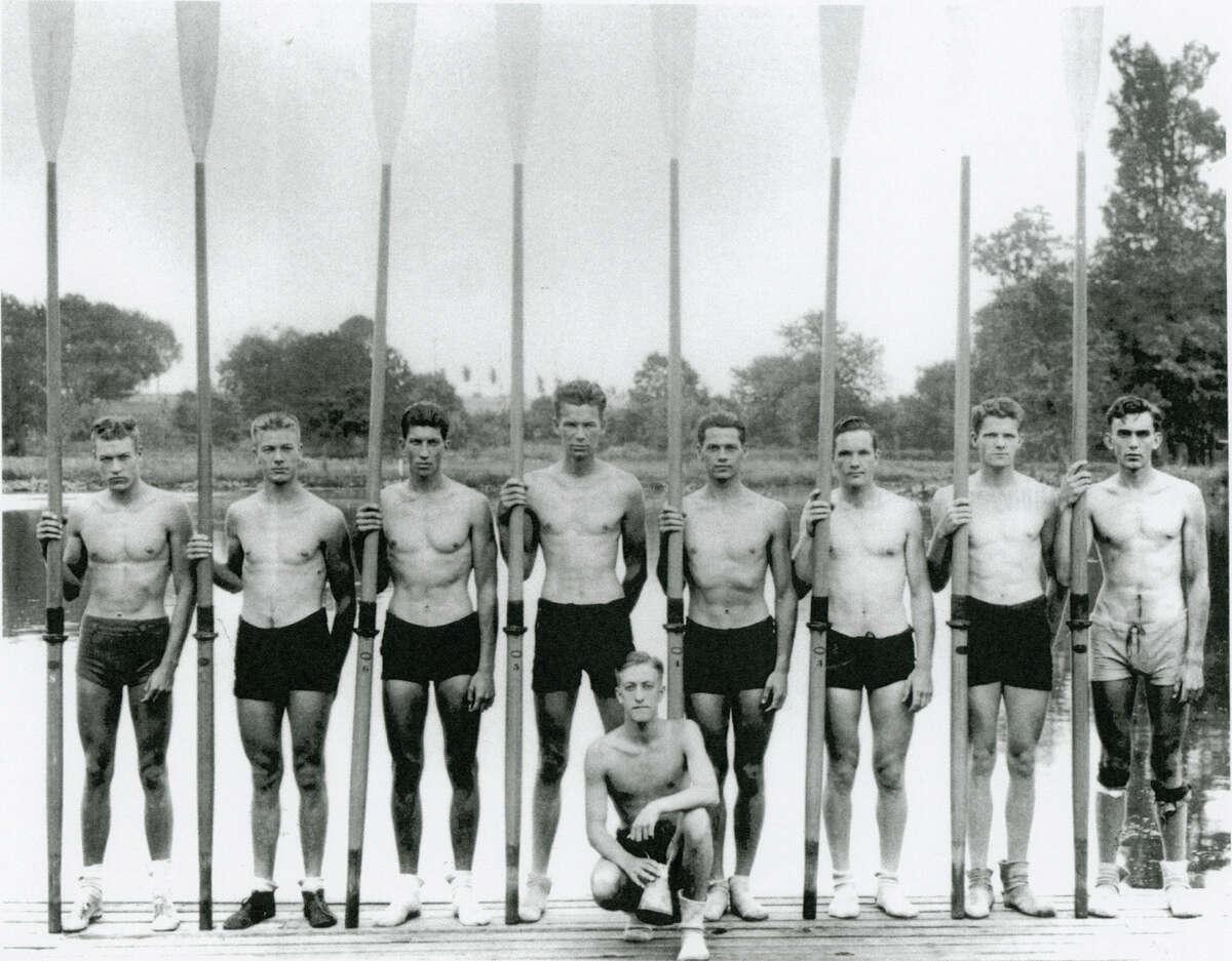 1936 University of Washington's varsity rowers: Don Hume (left), Joe Rantz, George Hunt, Jim McMillin, John White, Gordon Adams, Charles Day, Roger Morris and Bob Moch (kneeling).