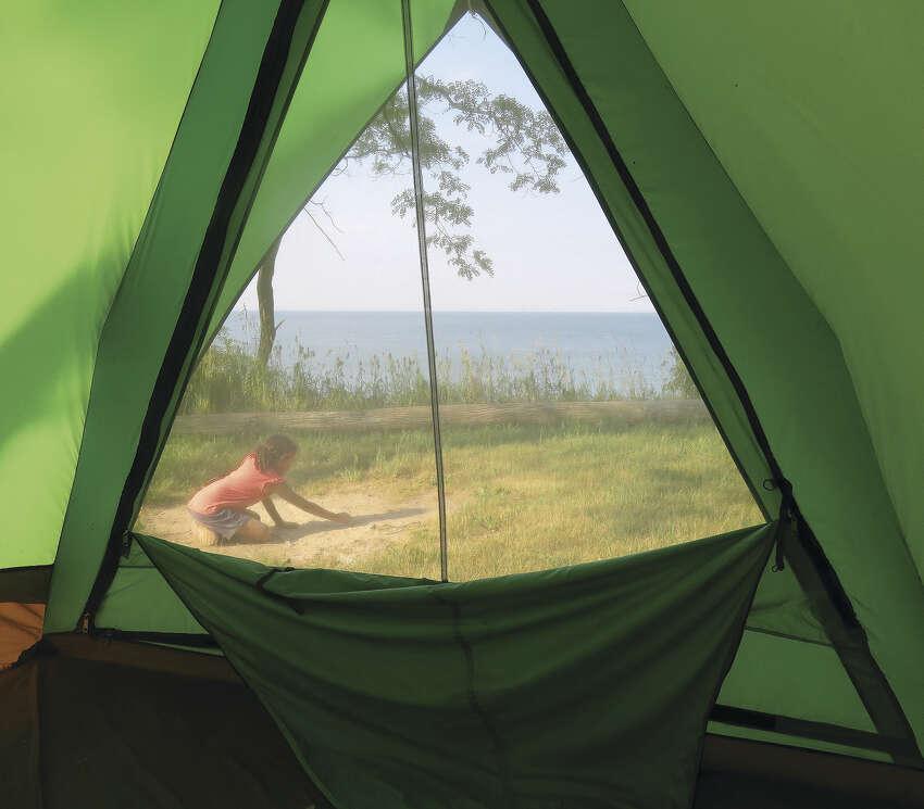 Tent view of Lake Ontario. (Herb Terns)