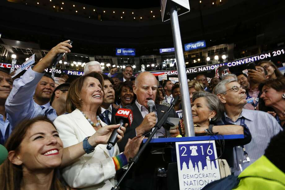 Members of the California delegation, including Rep. Nancy Pelosi, Gov. Jerry Brown, and Sen. Barbara Boxer, announce their votes for Hillary Clinton during the roll call at the Democratic National Convention on July 26 at the Wells Fargo Center in Philadelphia.  Photo: Carolyn Cole, TNS