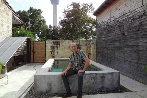 Architect Candid Rogers recently installed a small pool in the courtyard of his Lavaca neighorhood home.
