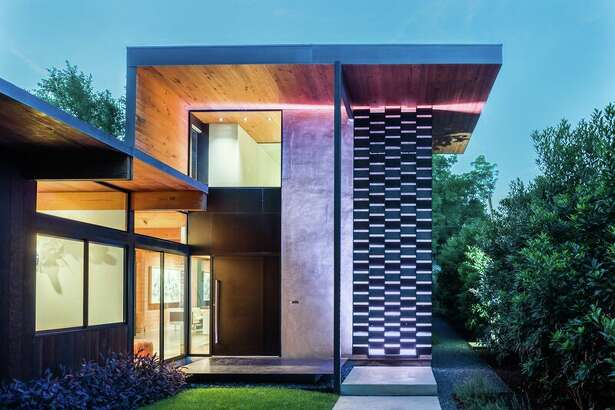 AFTER: Architect Tobin Smith made dramatic changes to the front facade of his home.
